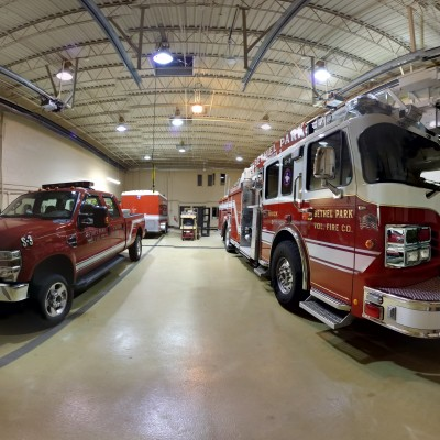 This is the apparatus bay at Clifton Station. The apparatus housed in this station, from left to right, are 110-Squad 3 (with the Specialized Rescue Trailer behind it) and 110-Truck 3.