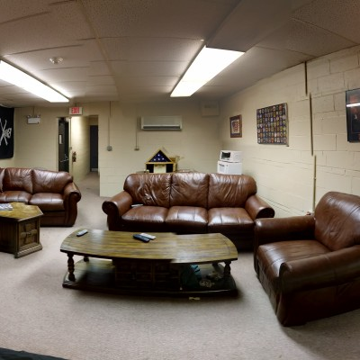 This is the lounge at Clifton Station. Firefighters frequently socialize and watch major sporting events here.