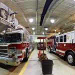 This is the apparatus bay at Brightwood Station. It houses five apparatus, from left to right, 110-Engine 1, 110-Truck 1, 110-Squad 1, 110-Engine 4, and 110-Rescue.